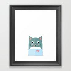 Cat and Fish Framed Art Print