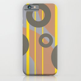 Rings and Lines in Yellow grey orange Colors iPhone Case