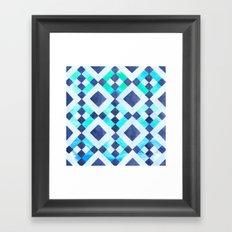Tribal Blue Watercolor Framed Art Print