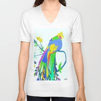 peacock V-neck T-shirts featuring Peacock  by Saundra Myles