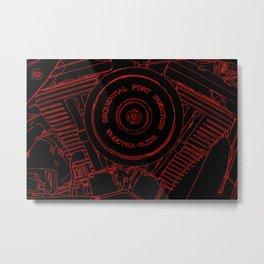 cycle motor, red on black Metal Print