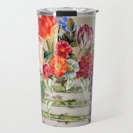 Country Flowers in a Wooden Crate Travel Mug