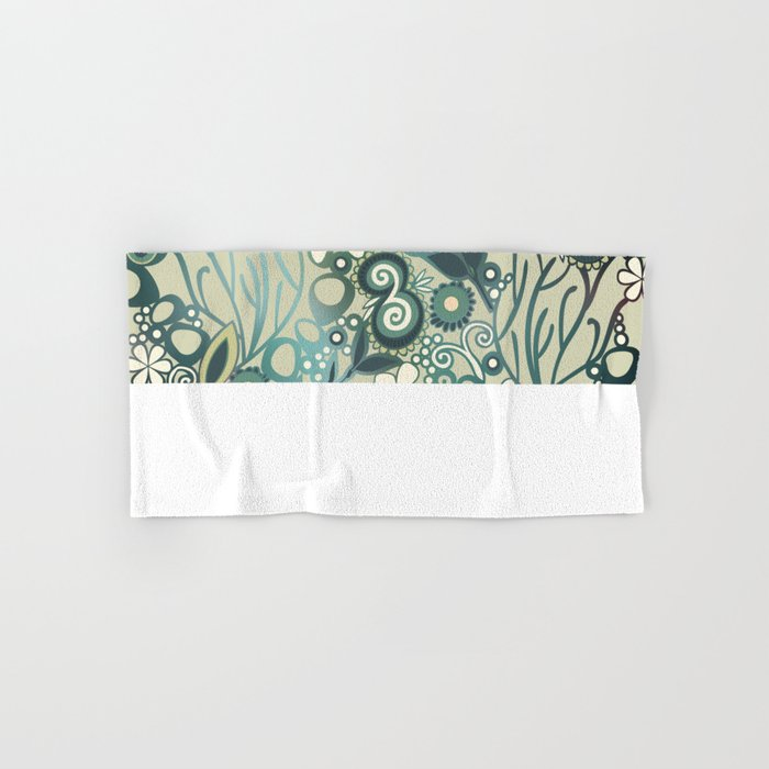 Detailed square of green and ocre floral tangle Hand & Bath Towel