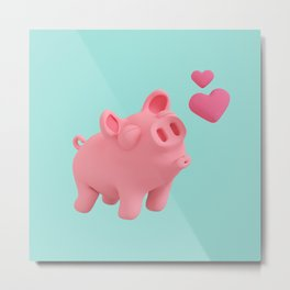 Rosa the Pig blow kisses Metal Print