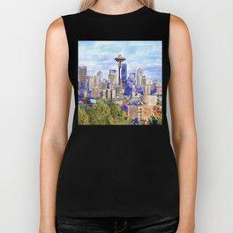 Seattle View in watercolor Biker Tank