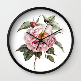 Wilting Pink Rose Watercolor Wall Clock