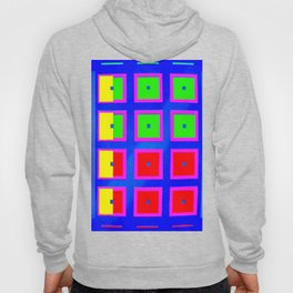 Digital Abstract with red squares on blue Hoody