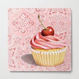 Pink Cupcake Paisley Bandana Metal Print