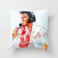 elvis presley Throw Pillows featuring Elvis presley by calibos