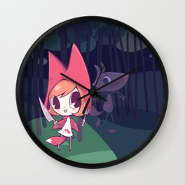 Red Riding Fox have big teeth Wall Clock