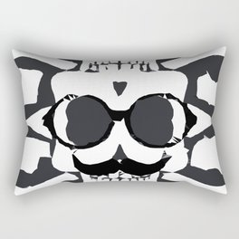 old funny skull and bone art portrait in black and white Rectangular Pillow