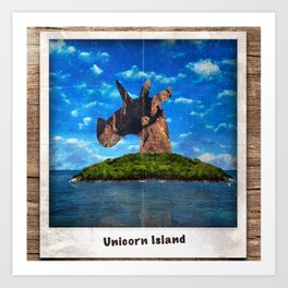 Island Head Unicorn Art Print