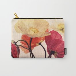Posing Poppies - bright, vintage toned poppy still life Carry-All Pouch