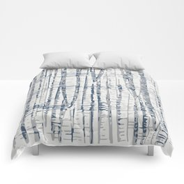 Abstract Woodland Landscape in Blue and Gray Comforters