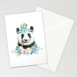 Watercolor Floral Spray Boho Panda Stationery Cards