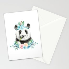 Watercolor Floral Spray Boho Panda Stationery Cards