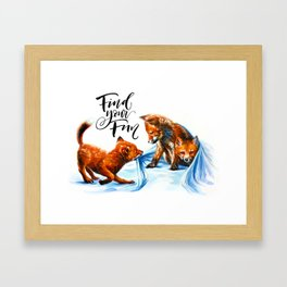 Foxes playing Framed Art Print