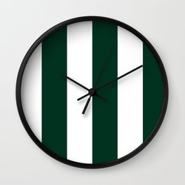 Wide Vertical Stripes - White and Deep Green Wall Clock