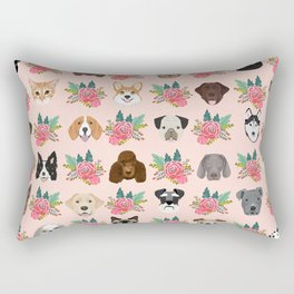 Dogs and cat breeds pet pattern cute faces corgi boston terrier husky airedale Rectangular Pillow