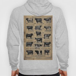 Vintage 1896 Cows Study on Antique Lancaster County Almanac Hoody