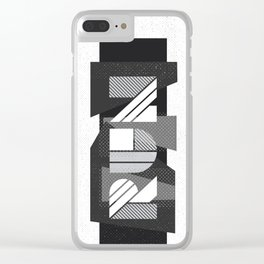 Run Geometric Typography - Black and White Clear iPhone Case
