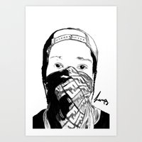 asap rocky Art Prints featuring ASAP Rocky Drawing by Lumpiam
