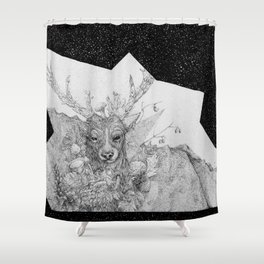 Elk and Shrooms Shower Curtain
