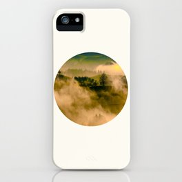 Mid Century Modern Round Circle Photo Graphic Design Foggy Green Country Landscape iPhone Case