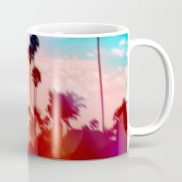palm tree with sunset sky and light bokeh abstract background Coffee Mug