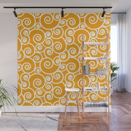 Mustard Gold and White Waves Pattern Wall Mural