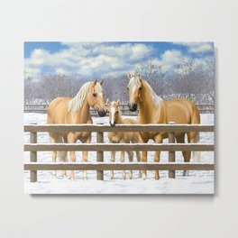 Palomino Quarter Horses In Snow Metal Print