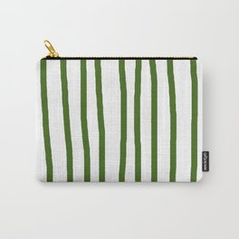 Simply Drawn Vertical Stripes in Jungle Green Carry-All Pouch
