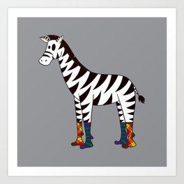 Zebra Socks Art Print