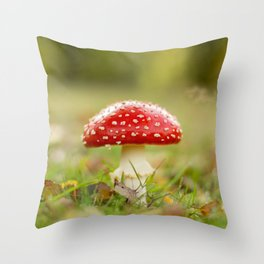 White dotted red hood Throw Pillow