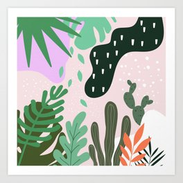 ABSTRACT PASTEL TROPICAL JUNGLE CACTUS PATTERN Art Print