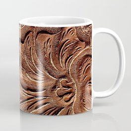 Vintage Worn Tooled Leather Coffee Mug