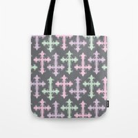 pastel goth Tote Bags featuring Pastel Goth | Grey by Glitterati Grunge