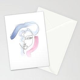 Contour Line Girl Stationery Cards