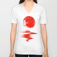 fall V-neck T-shirts featuring The Land of the Rising Sun by nicebleed
