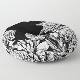 FLOWERS IN BLACK AND WHITE Floor Pillow