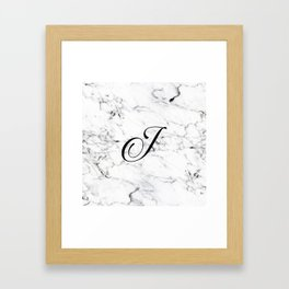 Letter J on Marble texture Initial personalized monogram Framed Art Print