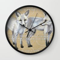 foxes Wall Clocks featuring foxes by Ashley White Jacobsen