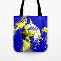 sweden Tote Bags featuring football Sweden  by seb mcnulty