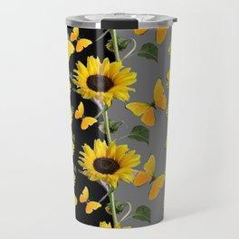 YELLOW BUTTERFLIES & SUNFLOWERS ART PANELS Travel Mug