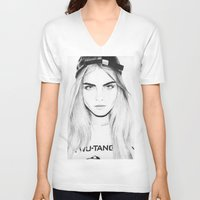 cara V-neck T-shirts featuring Cara  by Chris Samba