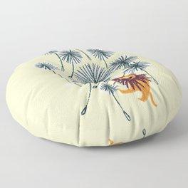 Lion on dandelion Floor Pillow