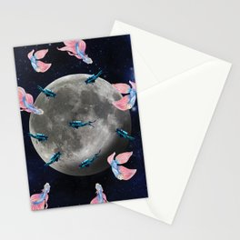 swimming moon Stationery Cards