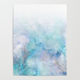 Fresh Blue and Aqua Ombre Frozen Marble Poster