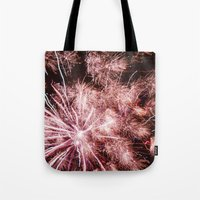 fireworks Tote Bags featuring Fireworks by For the easily distracted...