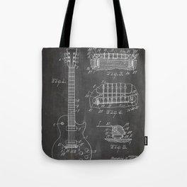Gibson Guitar Patent - Les Paul Guitar Art - Black Chalkboard Tote Bag